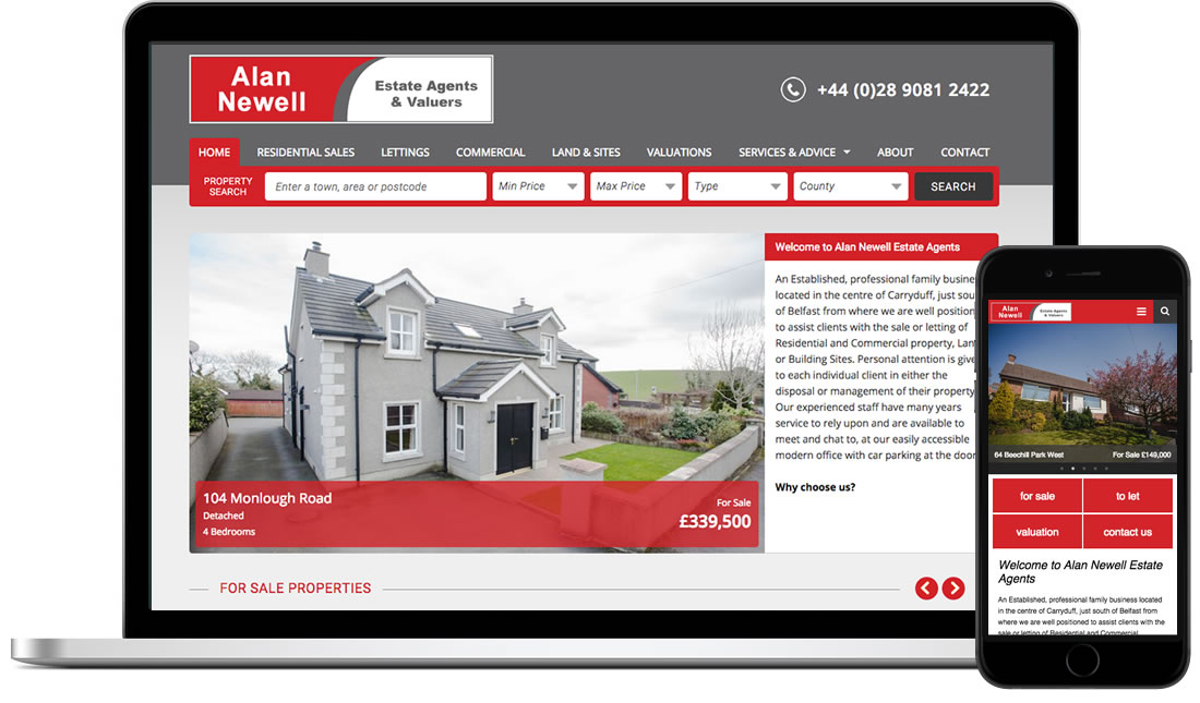 Alan Newell Estate Agents website