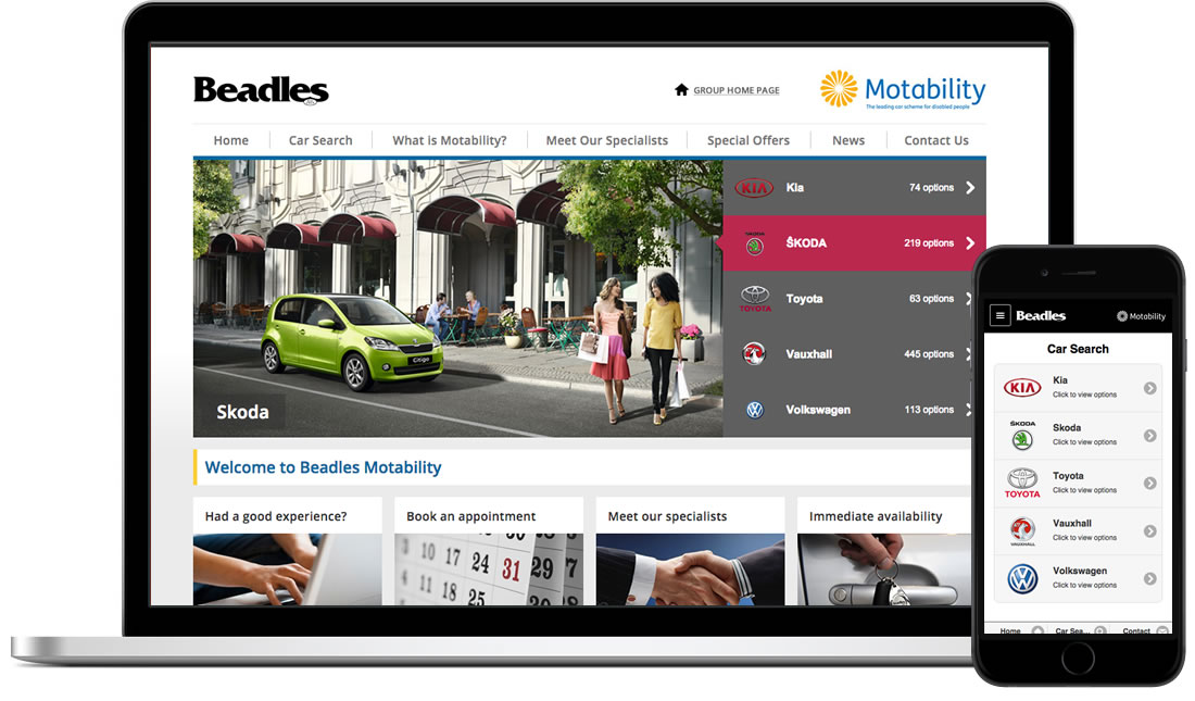 Beadles Motability website & mobile