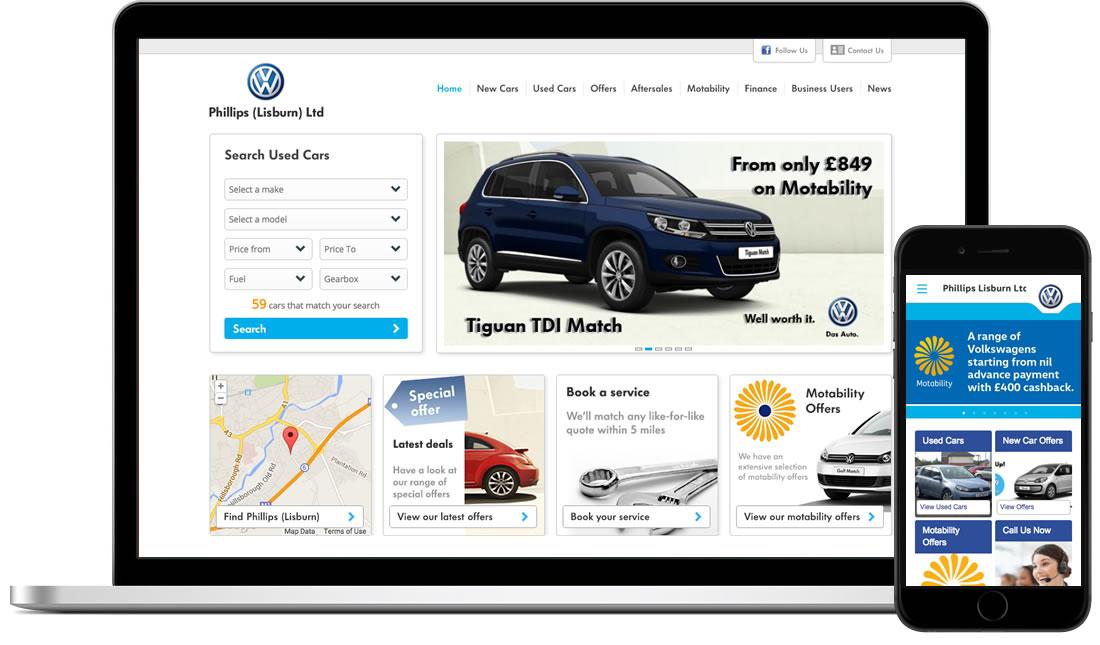 Phillips Volkswagen Blue Cubes Web Design