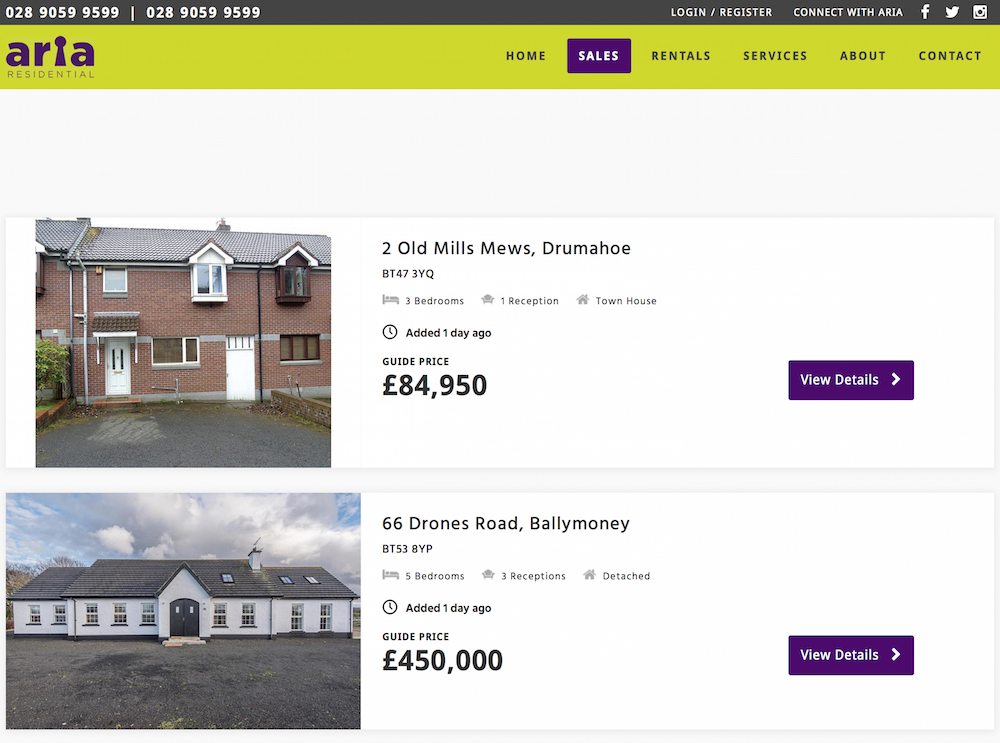 Properties for sale at Aria Residential, estate agents Northern Ireland 19478
