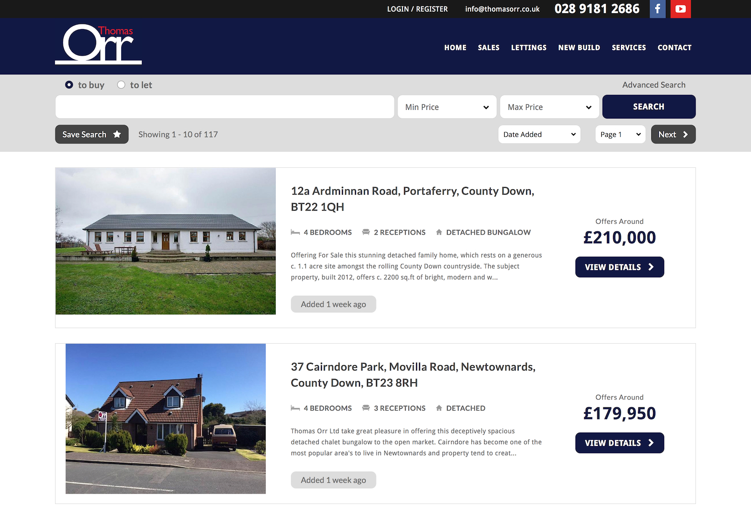Properties for sale at Thomas Orr estate agents Northern Ireland 1854