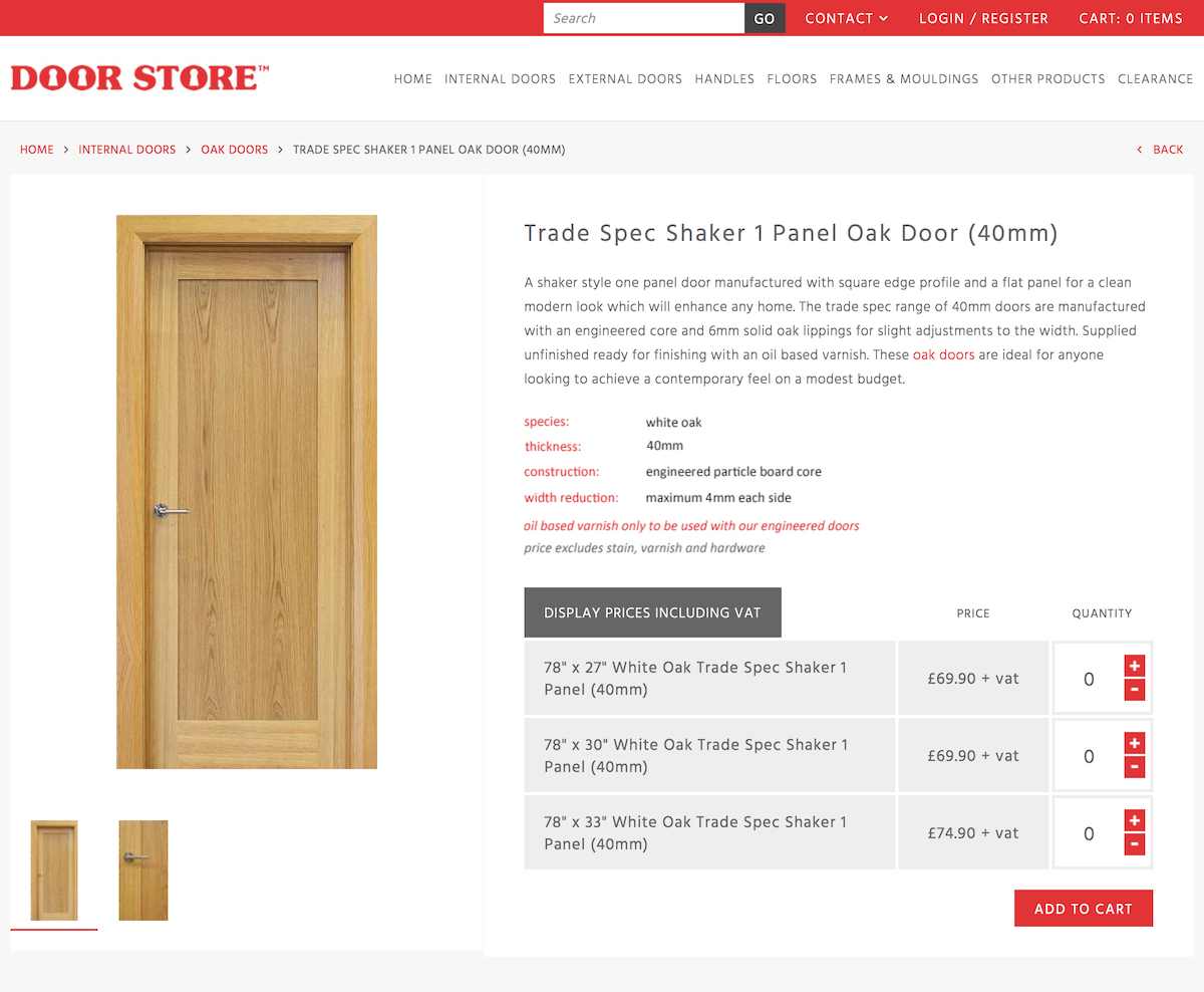 Trade Spec Shaker 1 Panel Oak Door (40mm) | Internal Doors | Oak Doors