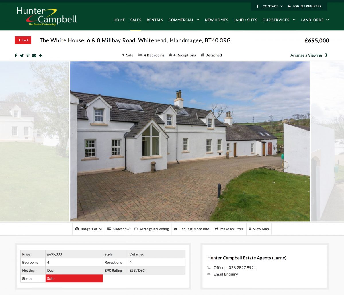 The White House, 6 & 8 Millbay Road, Whitehead, Islandmagee Property for sale at Hunter Campbell agents Northern Ireland